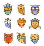 Owl outline icons collection Stock Photo