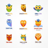 Owl outline icons collection Stock Photos