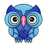 Owl or owl bird sketch vector isolated icon. Wild forest feathered night bird of prey sits wild fauna and Zoology vector illustration