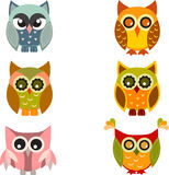 Owl, Owl Illustration, Owl Vector. Multicolor owls on white background, owls, fauna, bird, orange owl, green owl, brown owl, Halloween decoration,  owl Royalty Free Stock Images
