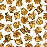 Owl and owlet birds seamless pattern Stock Photos