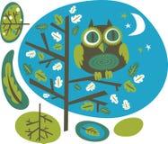 Owl på en tree Arkivfoto