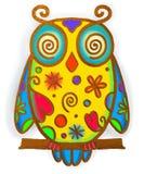 Owl Paint Doodle Royalty-vrije Stock Afbeeldingen