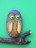 Owl painted on stone Stock Photography