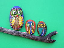 Owl painted on stone Stock Photos