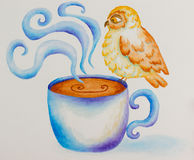 Owl painted in watercolor Royalty Free Stock Image