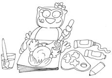 Owl painting chine coloring humorous children for books Royalty Free Stock Photo