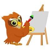 Owl Painting su una tela in bianco Immagine Stock