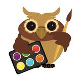 Owl with paints and brush. On white Stock Photo