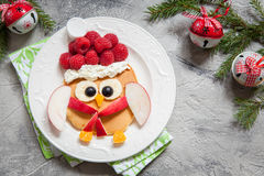 Owl pancake for Christmas breakfast Stock Photography