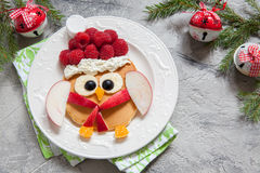 Owl pancake for Christmas breakfast. Christmas Owl pancake for funny kids breakfast Royalty Free Stock Images