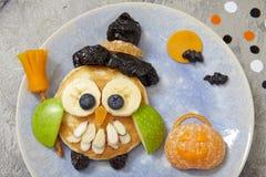 Owl pancake for Halloween Stock Photography
