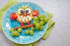 Owl pancake for kids breakfast stock image