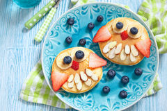 Owl pancakes for kids breakfast Royalty Free Stock Images
