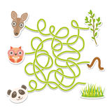 Owl panda kangaroo labyrinth game for Preschool Children. Vector Stock Photography