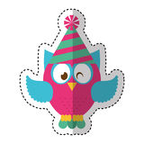Owl with party hat Stock Photography