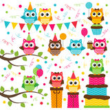 Owl party set Stock Photo