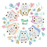 Owl pastel around circle thank you card. This illustration is drawing owl pastel around circle thank you card on white color background Stock Images