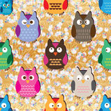 Owl pastel flower gold seamless pattern Stock Photography