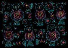 Owl pattern background. Hand drawing illustration. Blak background vector illustration