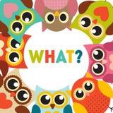 Owl Pattern Background mignon avec l'endroit pour votre vecteur Illu des textes Illustration Stock