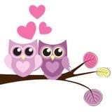 Owl Pattern Background mignon pour le jour de valentines avec des coeurs et P Illustration de Vecteur
