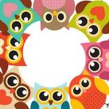 Owl Pattern Background sveglio con il posto per il vostro vettore Illu del testo Immagini Stock