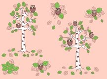 Owl Pattern Seamless Stock Images