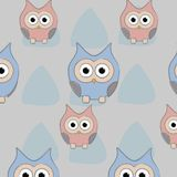 Owl pattern set cartoon. Owl pattern background funny cartton vector illustration with triangle back cover print Stock Photo
