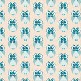 Owl pattern. Vector seamless pattern with cute owls wearing bow ties Royalty Free Stock Photo