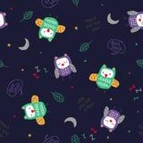 Owl Pattern Vector royaltyfri illustrationer