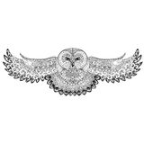 Owl with patterns, ornaments, tattoo, dotwork Royalty Free Stock Image
