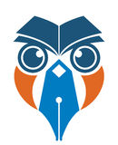 Owl pen and book stock illustration