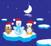 An owl, a penguin and a snowman on the ice floe Royalty Free Stock Images