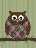 Owl perched on a branch. An owl wearing a patterned sweater and badges perched on a tree branch royalty free illustration