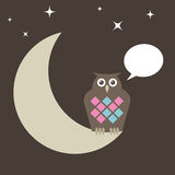 Owl perched on moon Royalty Free Stock Photo