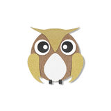 Owl perched paper craft on paper background Stock Image