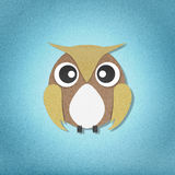 Owl perched paper craft on paper background Royalty Free Stock Image