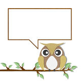 Owl perched paper craft on paper background Royalty Free Stock Photos