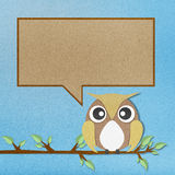 Owl perched paper craft on paper background Stock Photography