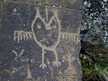 Owl Petroglyph Arkivbild