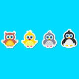 Owl pigeon chicken and penguin royalty free illustration