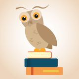 Owl on a pile of books Stock Photography