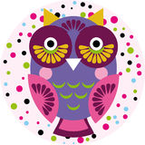 Owl on a pink background in colored polka dots. Vector Stock Photography