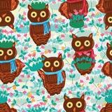 Owl pink green garden seamless pattern Stock Photography