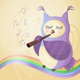 Owl play the flute on the rainbow, musical notes fly around her stock illustration