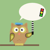 Owl-policeman with warning Stock Image