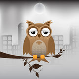 Owl And Polluted City Royalty Free Stock Photography