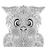 Owl Portrait mandala zentangle Royalty Free Stock Images