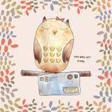 Owl postcard Royalty Free Stock Photo